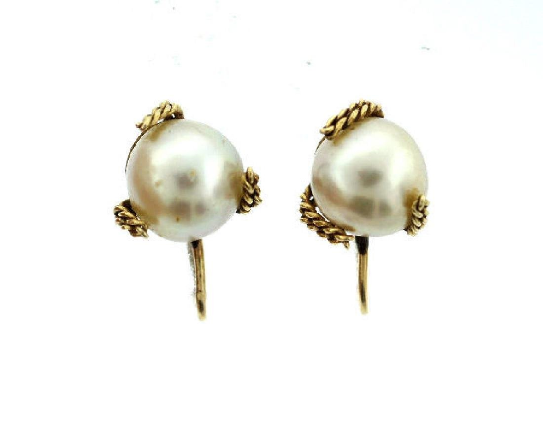C.1950 14K YELLOW GOLD CULTURED PEARL EARRINGS STAMPED