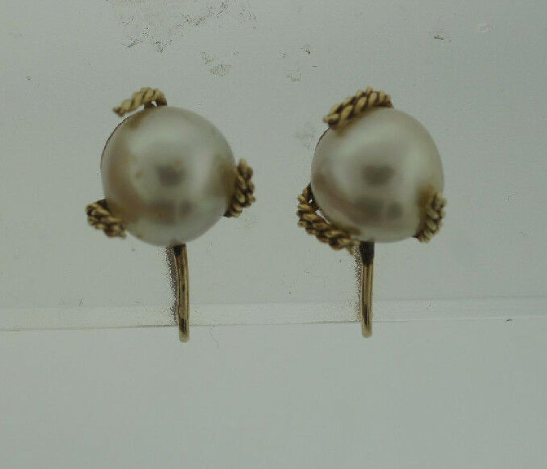 C.1950 14K YELLOW GOLD CULTURED PEARL EARRINGS STAMPED - 2