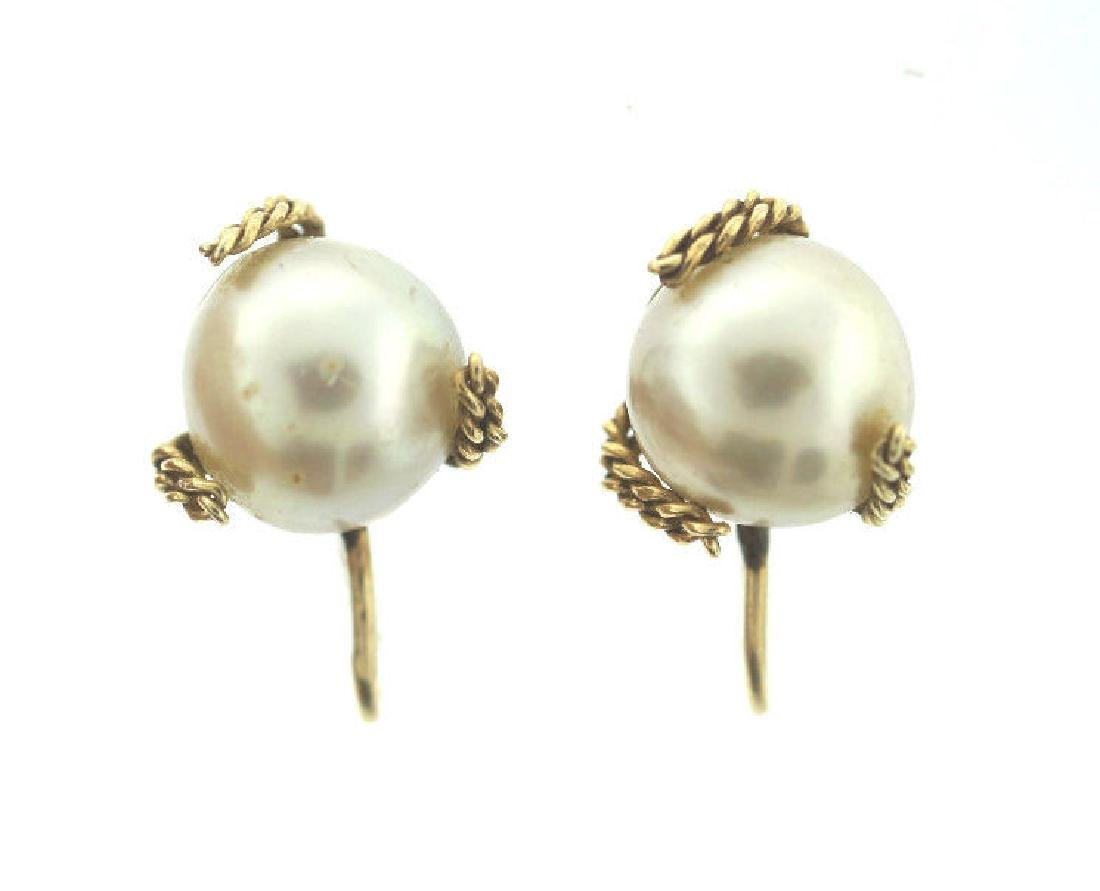 C.1950 14K YELLOW GOLD CULTURED PEARL EARRINGS STAMPED - 3