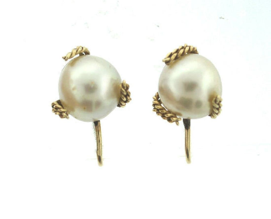 C.1950 14K YELLOW GOLD CULTURED PEARL EARRINGS STAMPED - 5