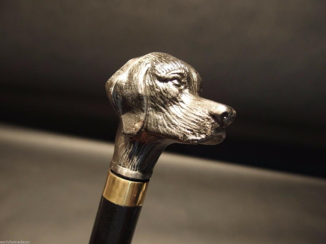 Dog Head Handle Metal Walking Stick Cane - 5