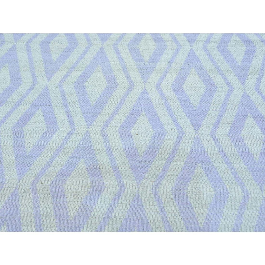 Ivory Flat Weave Hand Woven Reversible Kilim Rug - 4