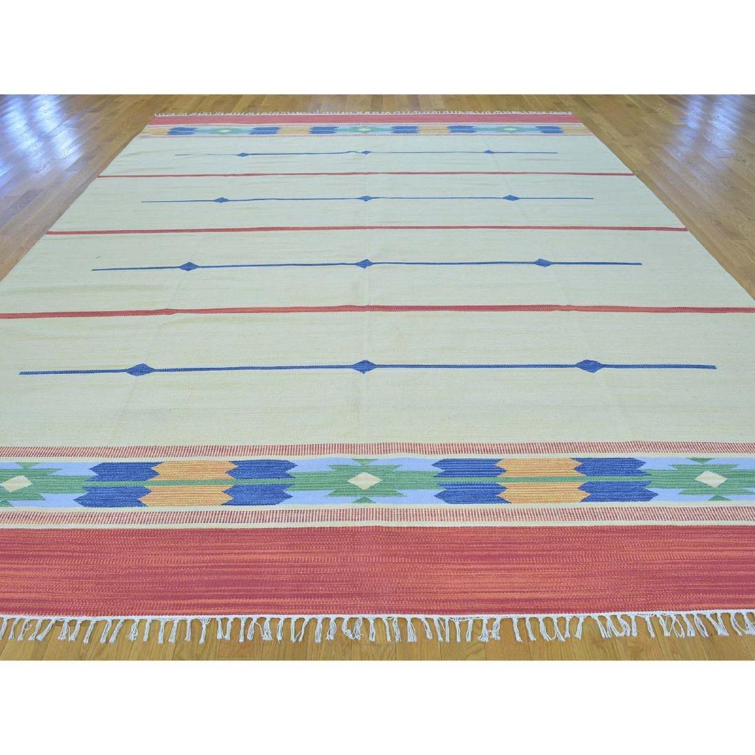 Navajo Design Hand Woven Flat Weave Killim Rug - 2