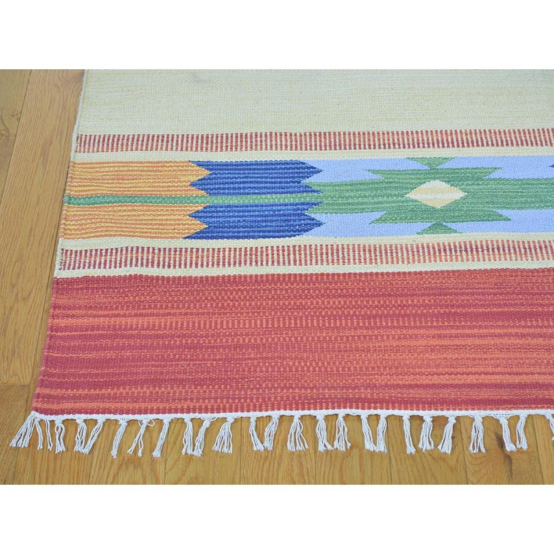 Navajo Design Hand Woven Flat Weave Killim Rug - 3
