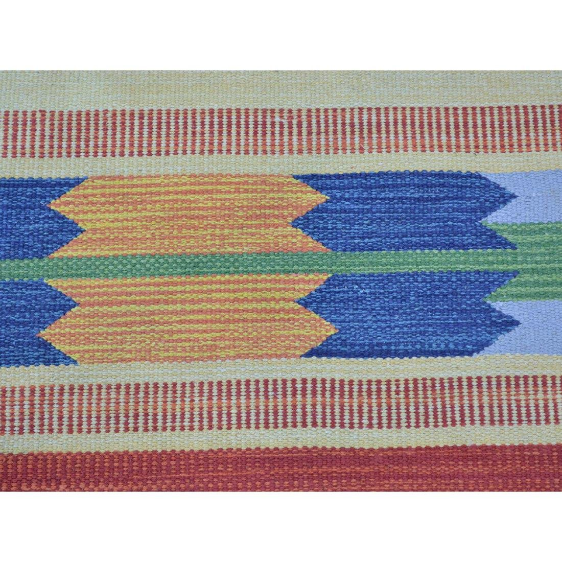 Navajo Design Hand Woven Flat Weave Killim Rug - 4
