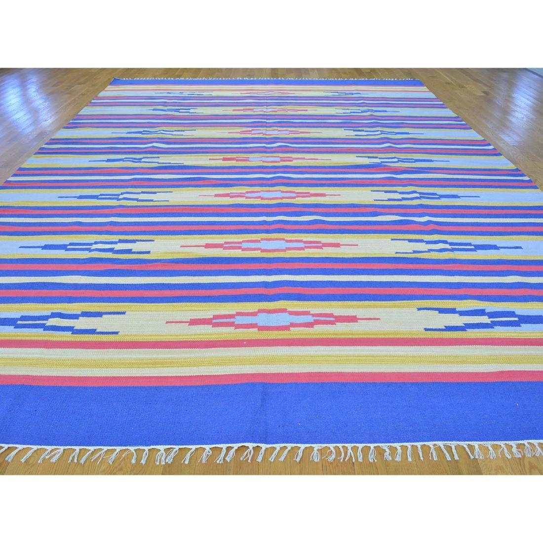 Handmade Southwestern Design Flat Weave Killim Striped - 2