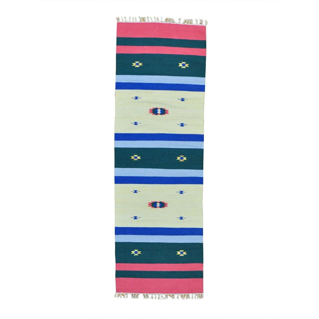 Navajo Design Runner Flat Weave Kilim Hand Woven Rug