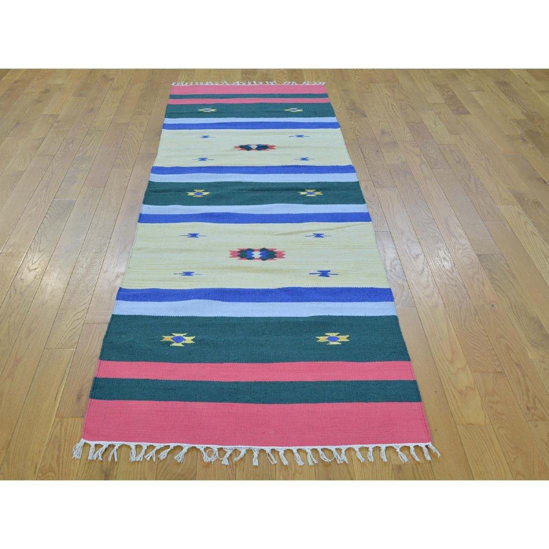 Navajo Design Runner Flat Weave Kilim Hand Woven Rug - 2
