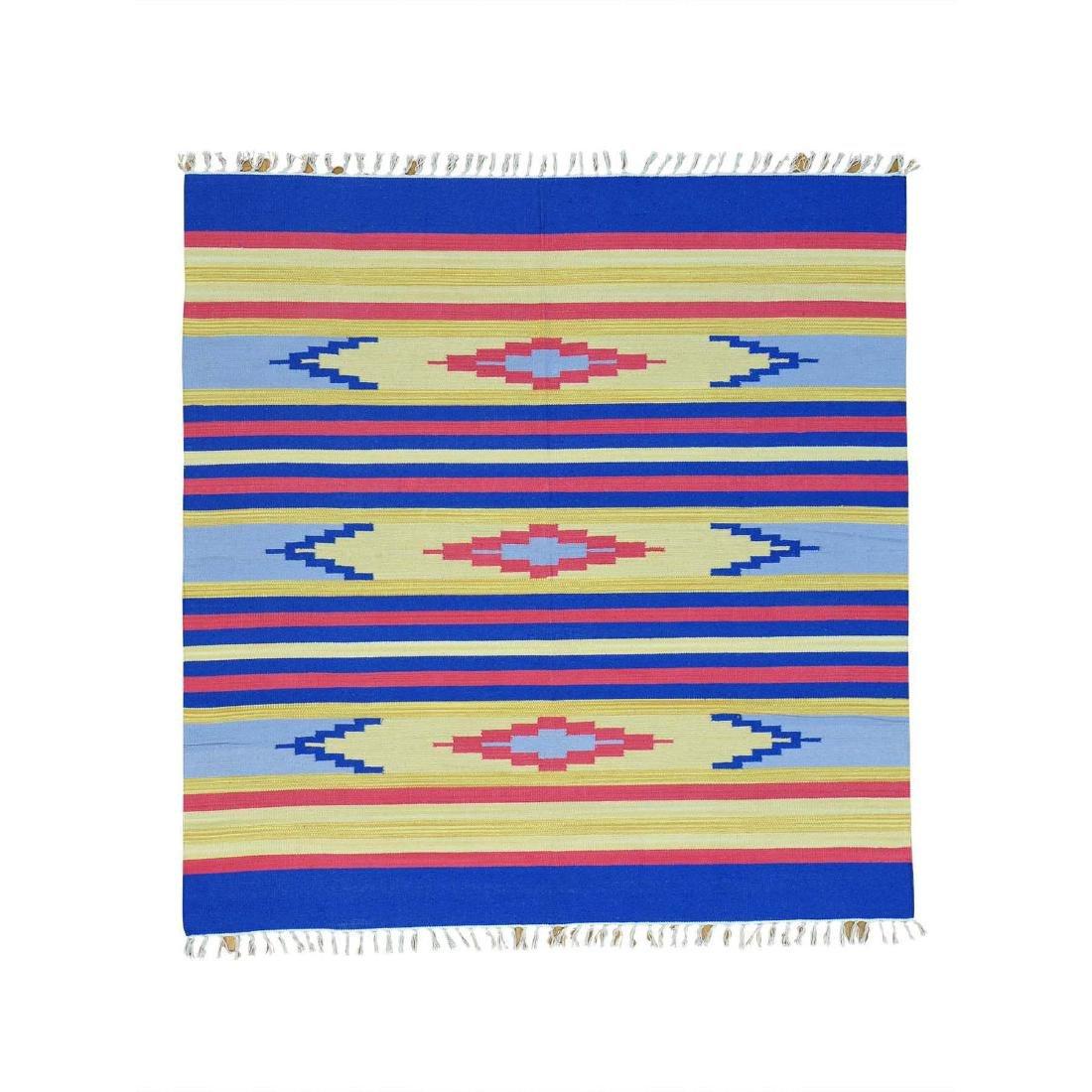 Square Navajo Design Flat Weave Hand Woven Killim Rug