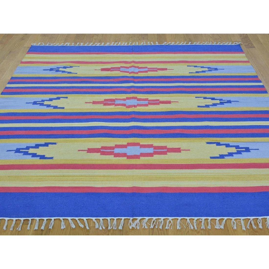 Square Navajo Design Flat Weave Hand Woven Killim Rug - 2