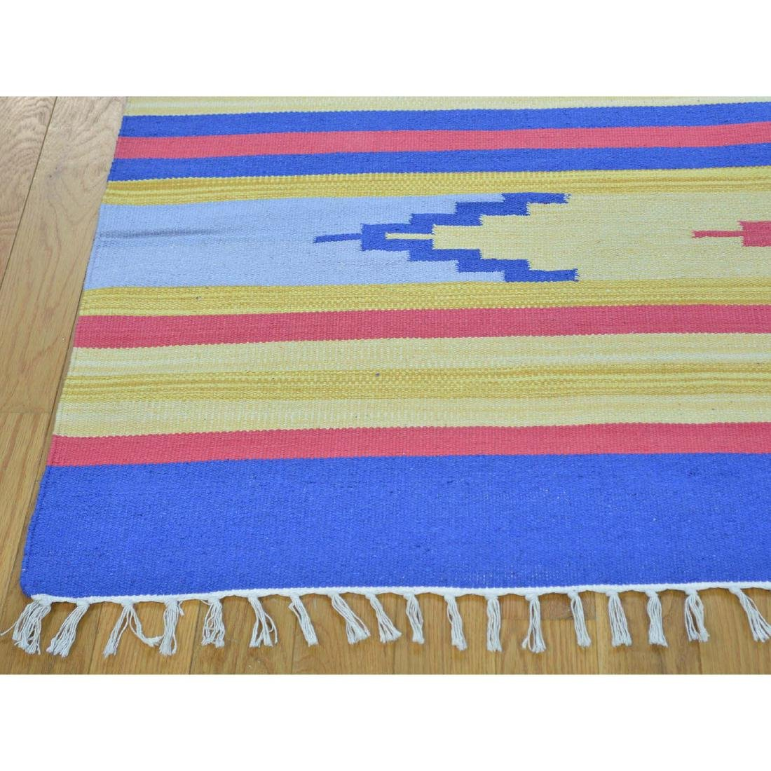 Square Navajo Design Flat Weave Hand Woven Killim Rug - 3