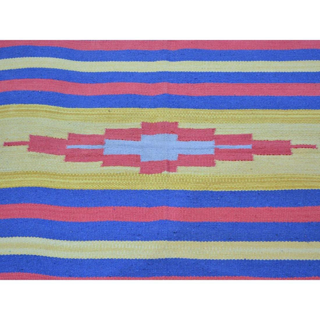 Square Navajo Design Flat Weave Hand Woven Killim Rug - 4