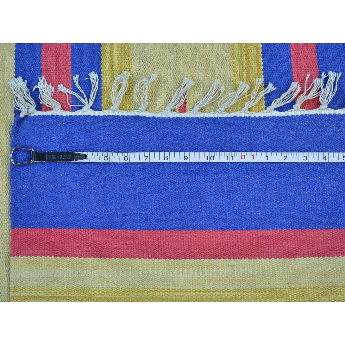 Square Navajo Design Flat Weave Hand Woven Killim Rug - 5