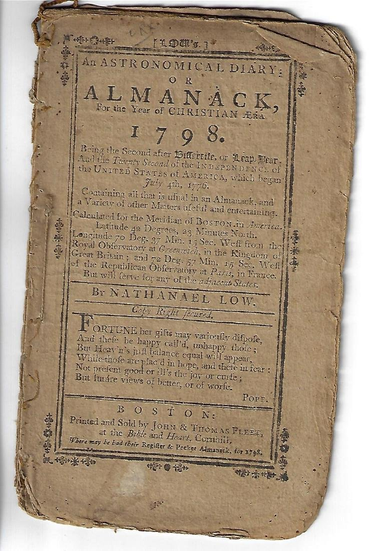 1798 Nathaniel Low Almanac Boston