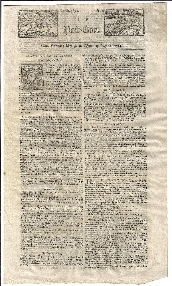 1727 The Post-Boy Nice Masthead Newspaper