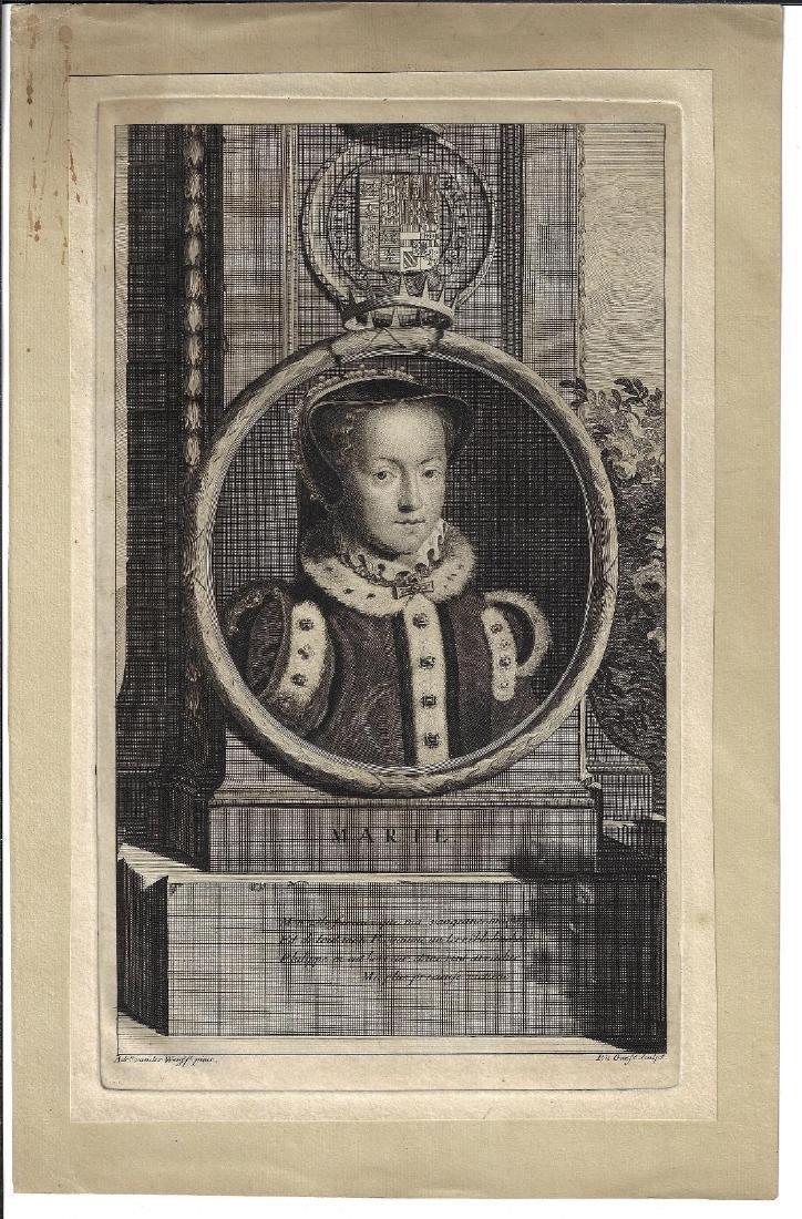 1713 Fine Engraving of Queen Mary Van Der Werff