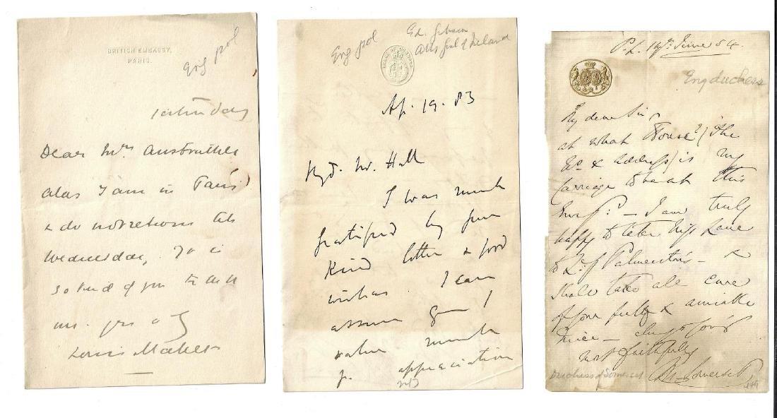 Three 19th C Manuscript Notes English Notables