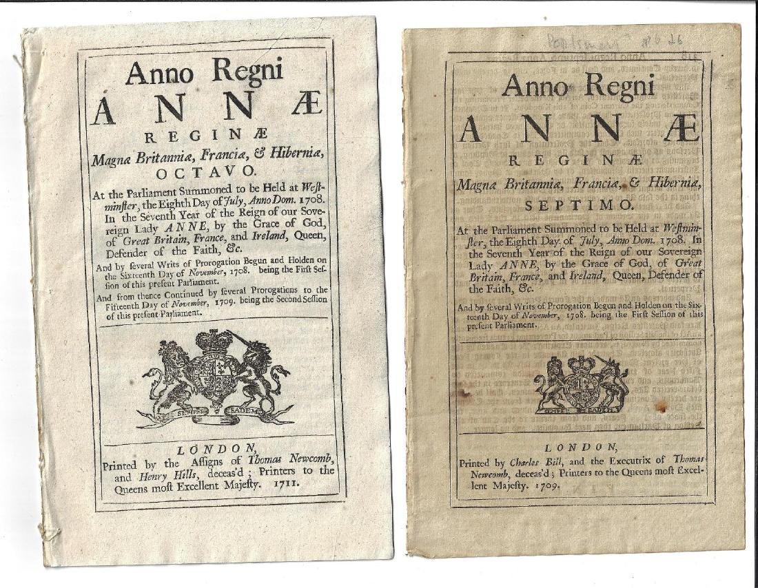 1709 Two English Acts Reign Queen Anne