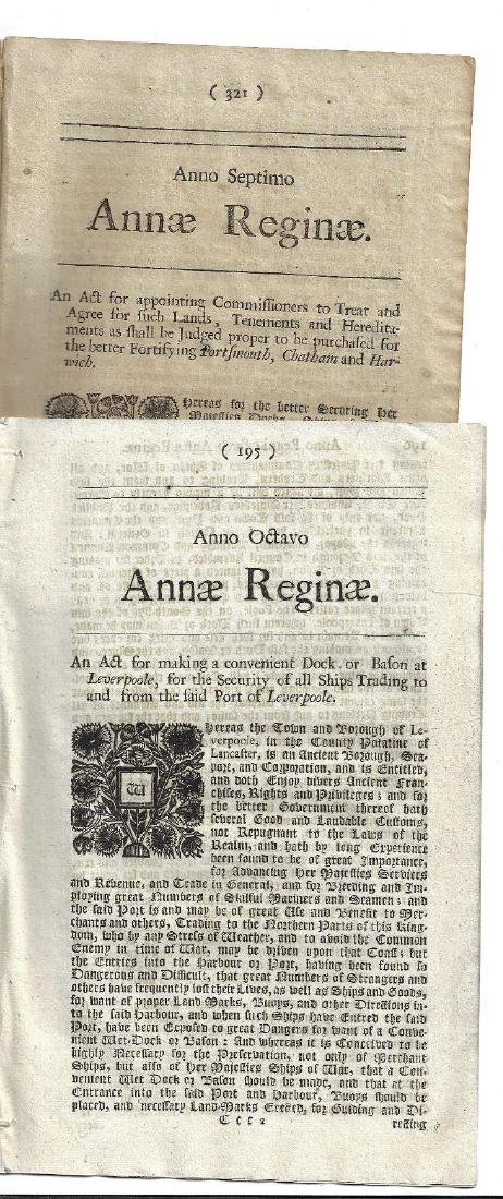 1709 Two English Acts Reign Queen Anne - 2