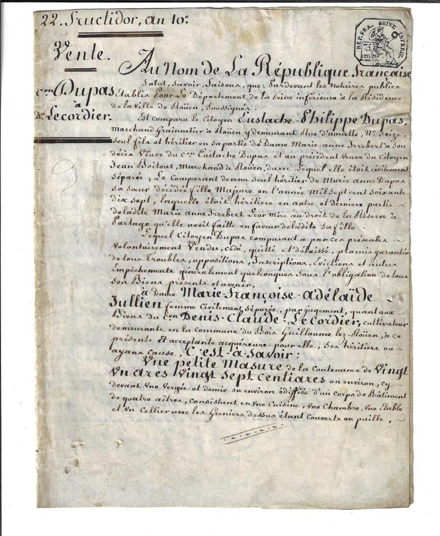 1803 French Republic Vellum Manuscript Property