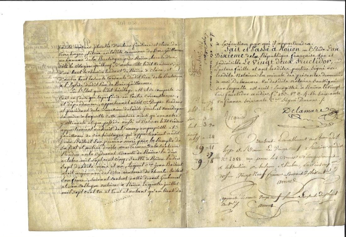 1803 French Republic Vellum Manuscript Property - 2