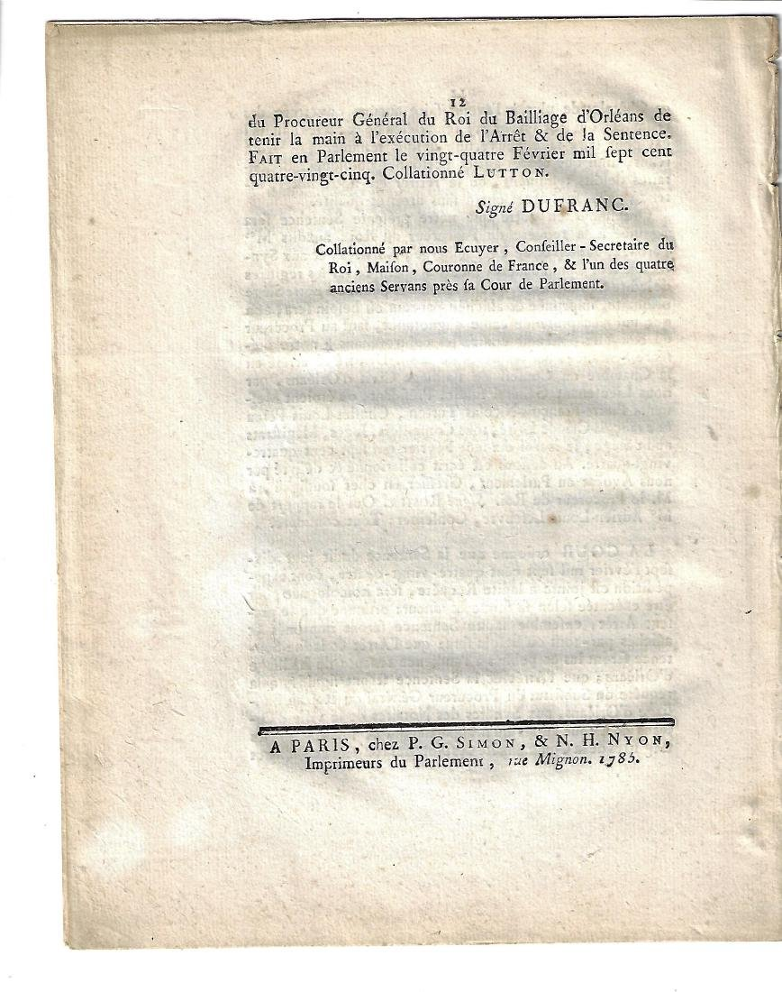 1785 French Military Act - 2