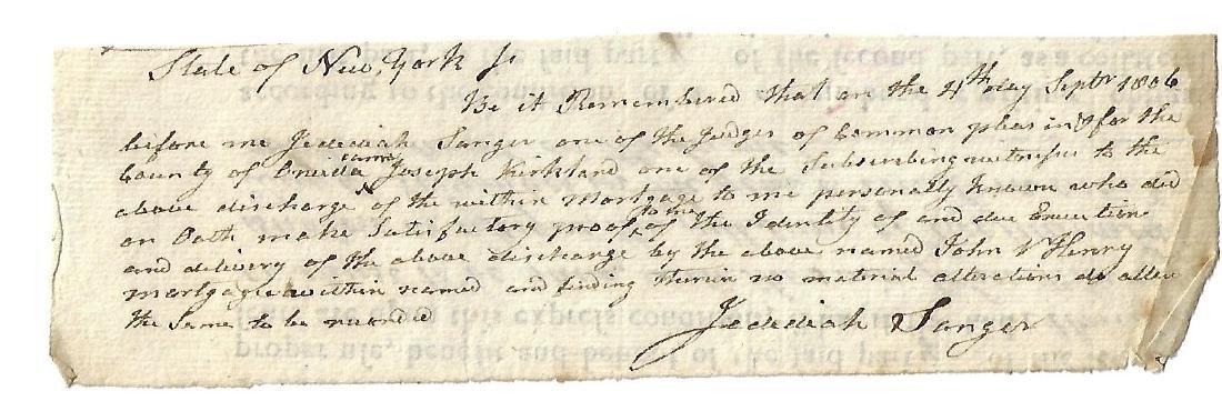 1806 Manuscript Legal Document Jedediah Sanger