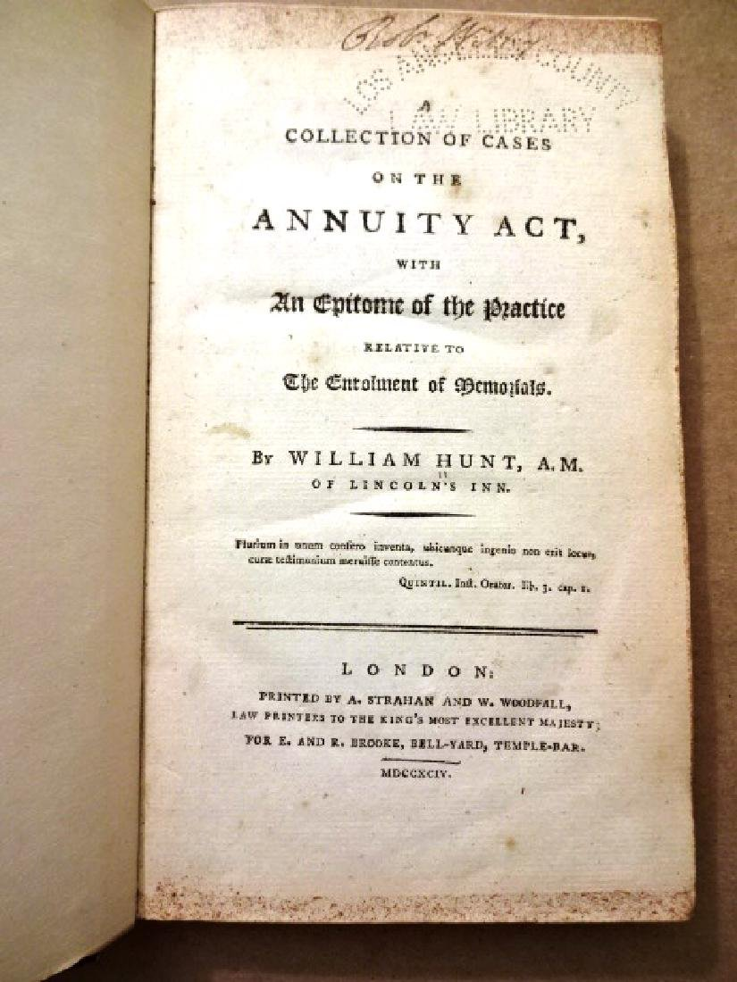 1794 Hunt's Collection of Cases on Annuity Act