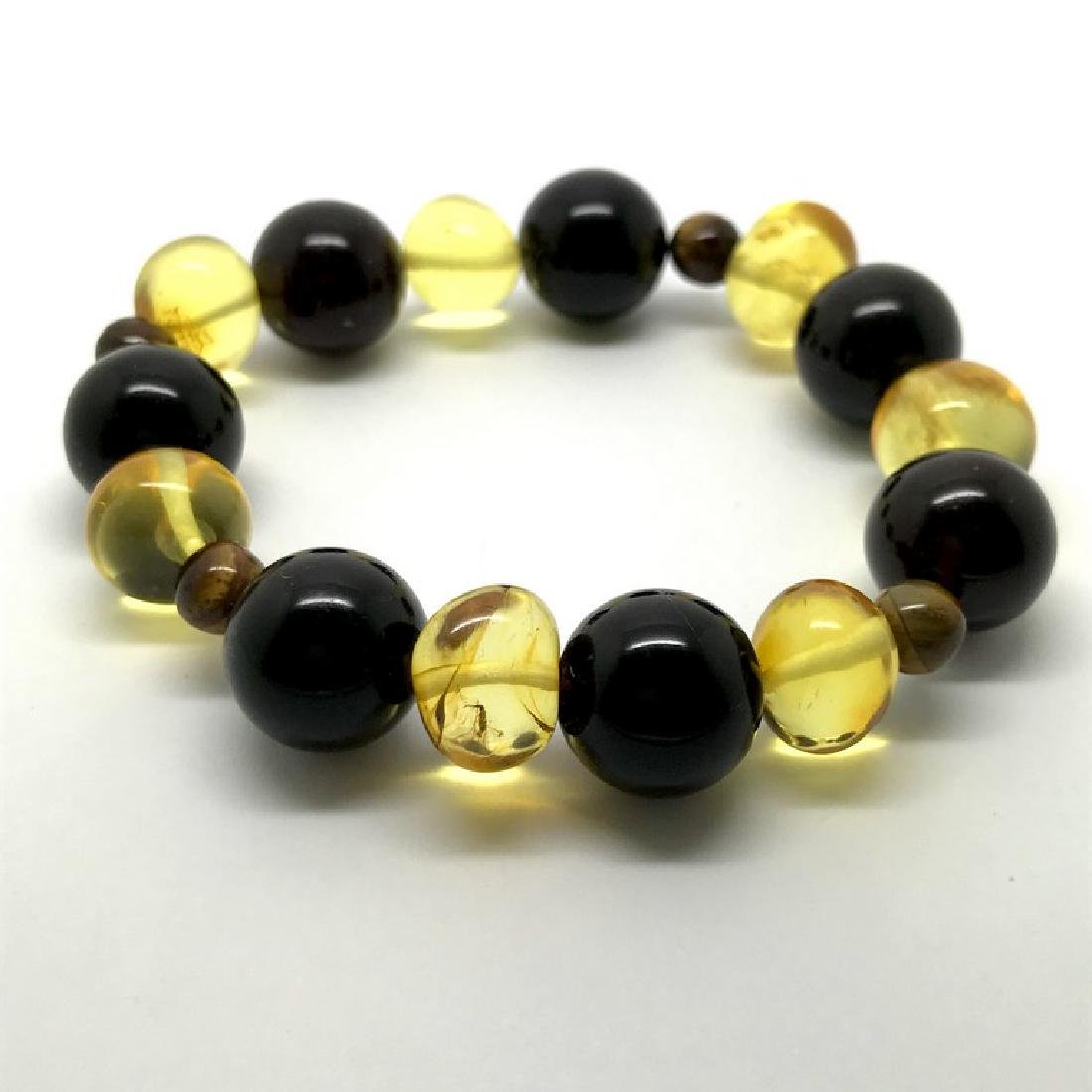 Bracelet Baltic amber with fly inclusion &Tiger eye - 3