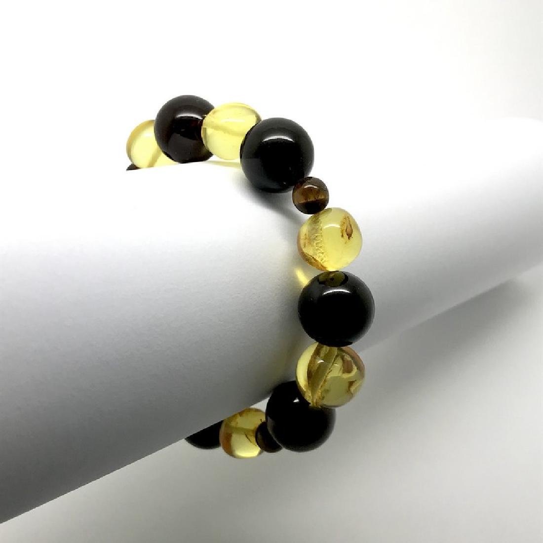 Bracelet Baltic amber with fly inclusion &Tiger eye - 4