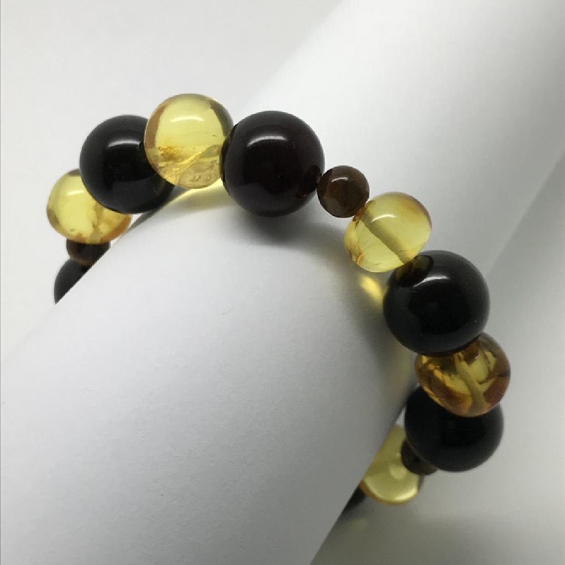 Bracelet Baltic amber with fly inclusion &Tiger eye - 5