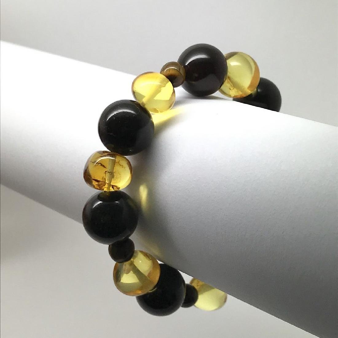Bracelet Baltic amber with fly inclusion &Tiger eye - 6