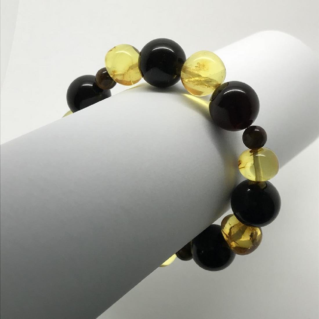 Bracelet Baltic amber with fly inclusion &Tiger eye - 7