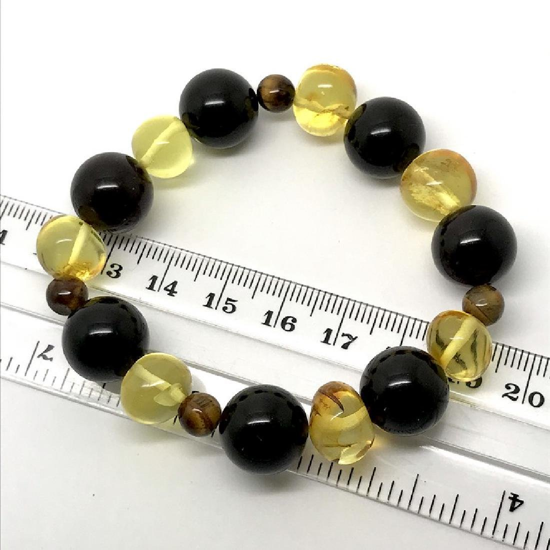 Bracelet Baltic amber with fly inclusion &Tiger eye - 8