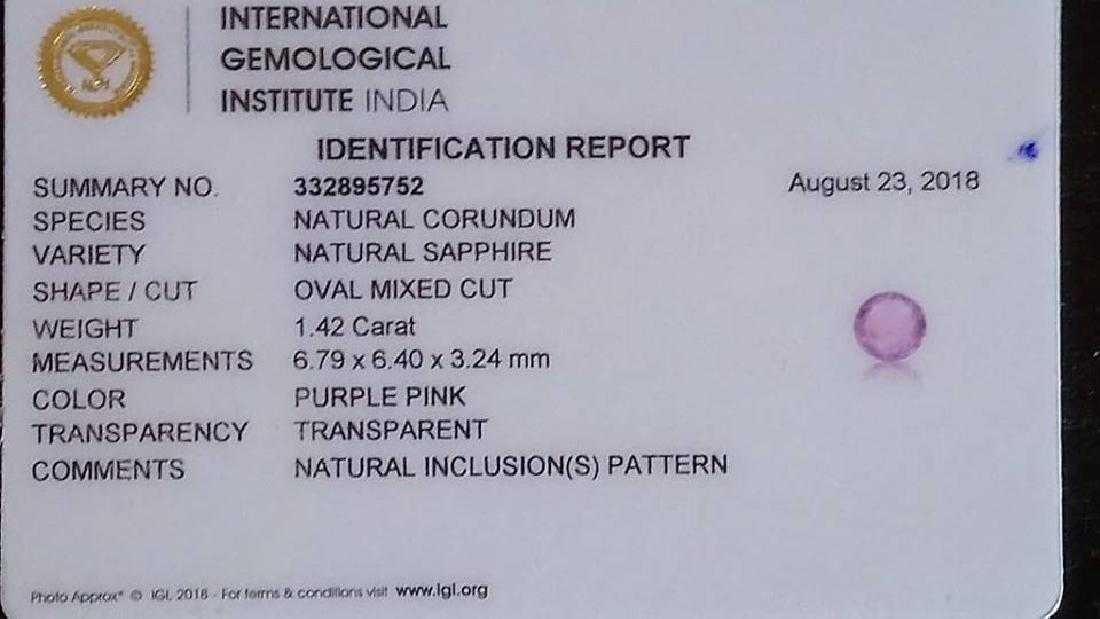 Unheated Pink Sapphire IGI report 1,42 ct - 2
