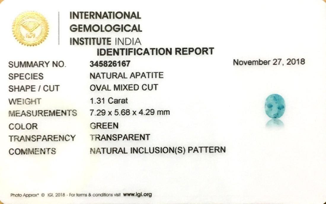 IGI Certified 1.31 Ctw Natural Brazil Green Apatite - 3