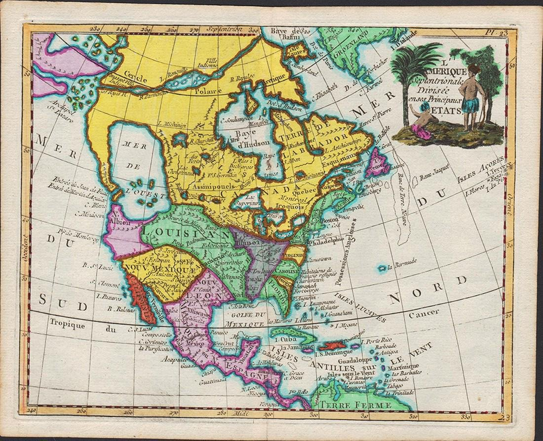 1786 map of N. America by de la Porte