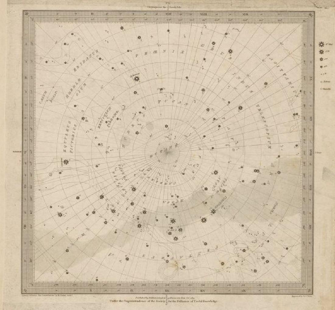ASTRONOMY CELESTIAL Star map chart 6 South Pole. SDUK
