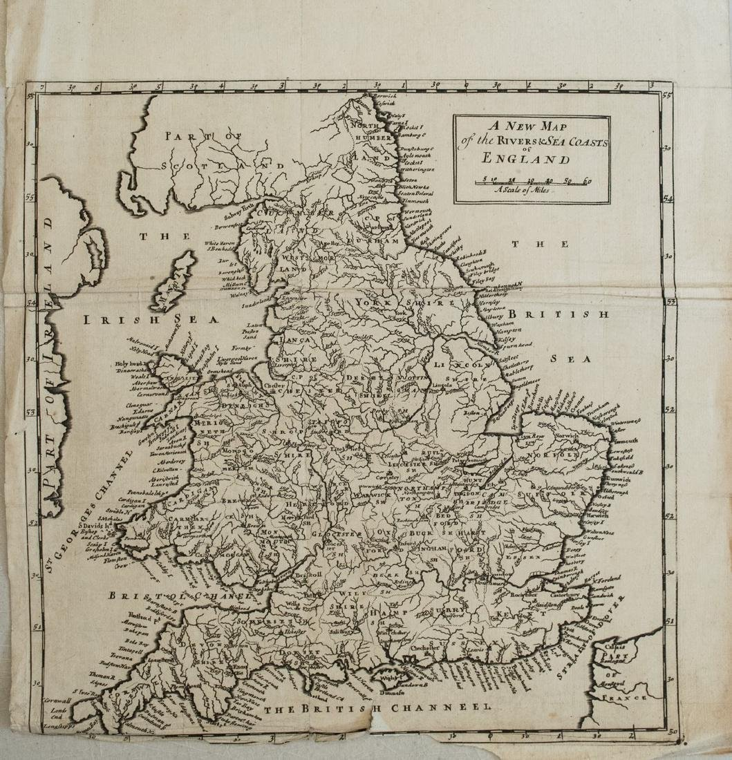 1729 Moll Map of England and Wales -- A New Map of the