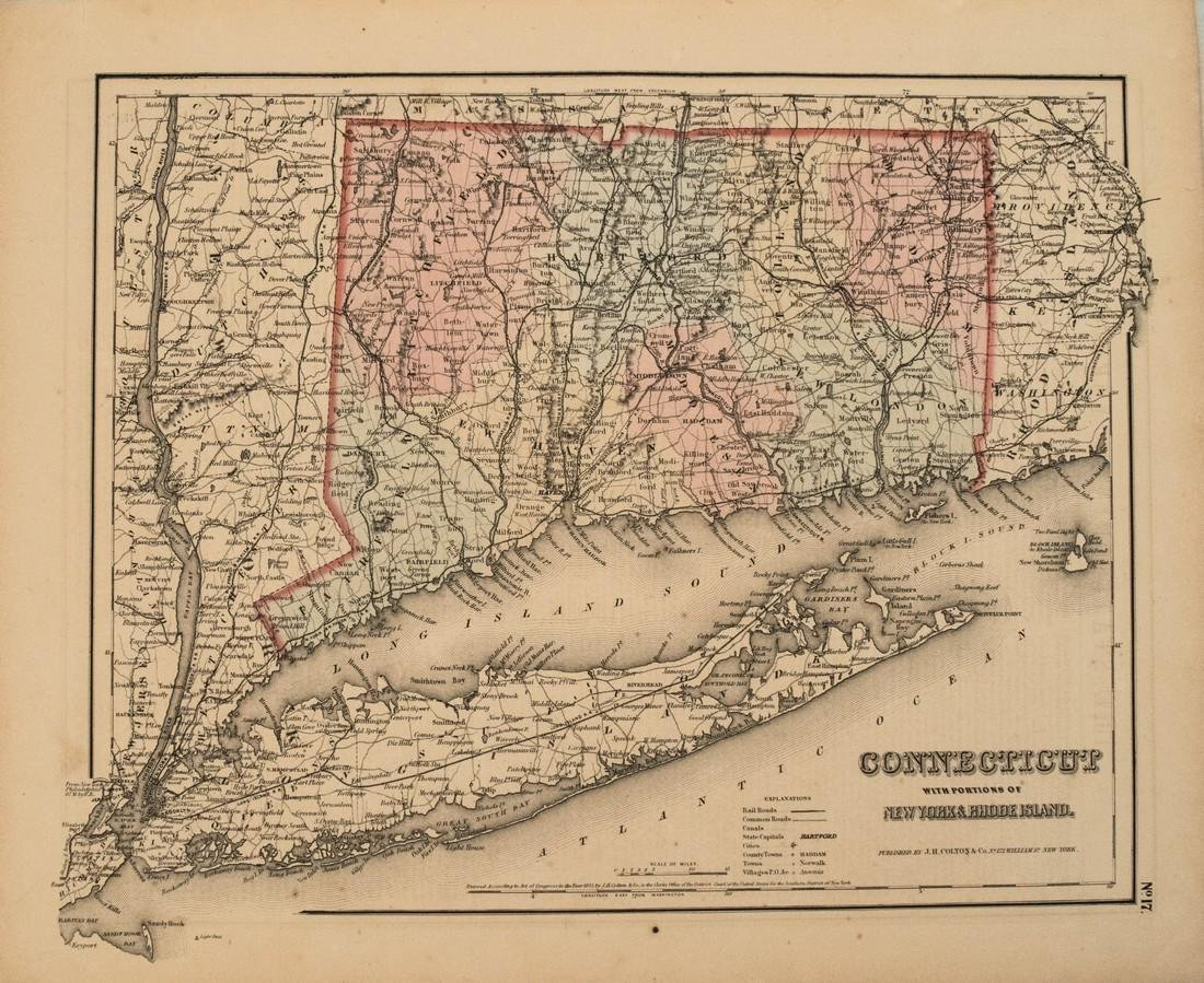 1855 Colton Map of Connecticut -- Connecticut with