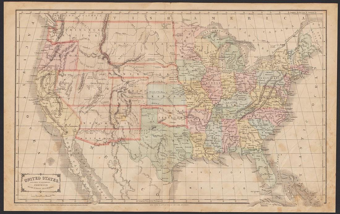 Scarce 1863 U. S. map w/Civil War Arizona