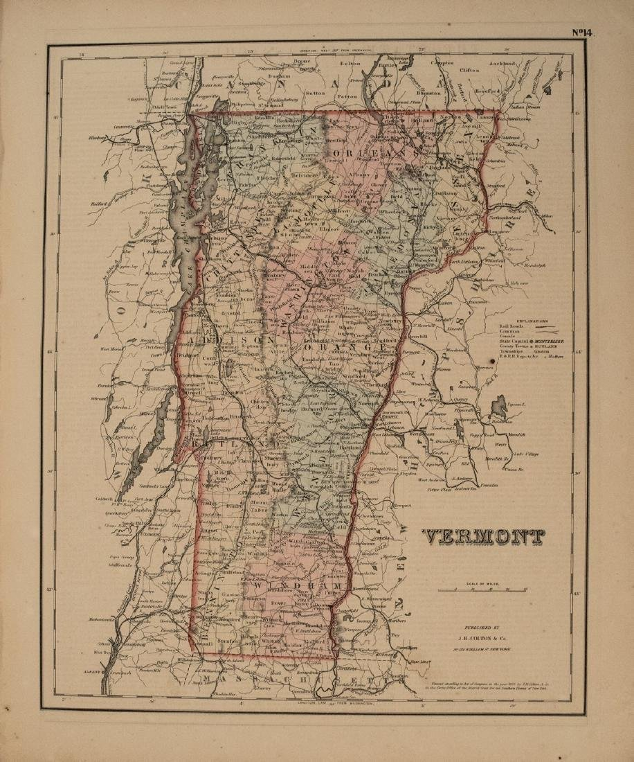 1855 Colton Map of Vermont -- Vermont
