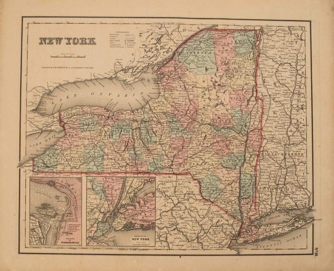 1855 Colton Map of New York -- New York
