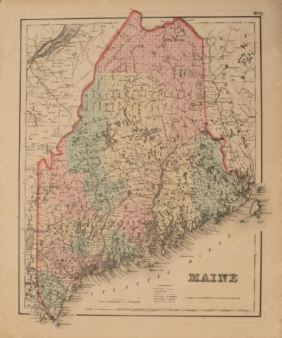 1855 Colton Map of Maine -- Maine
