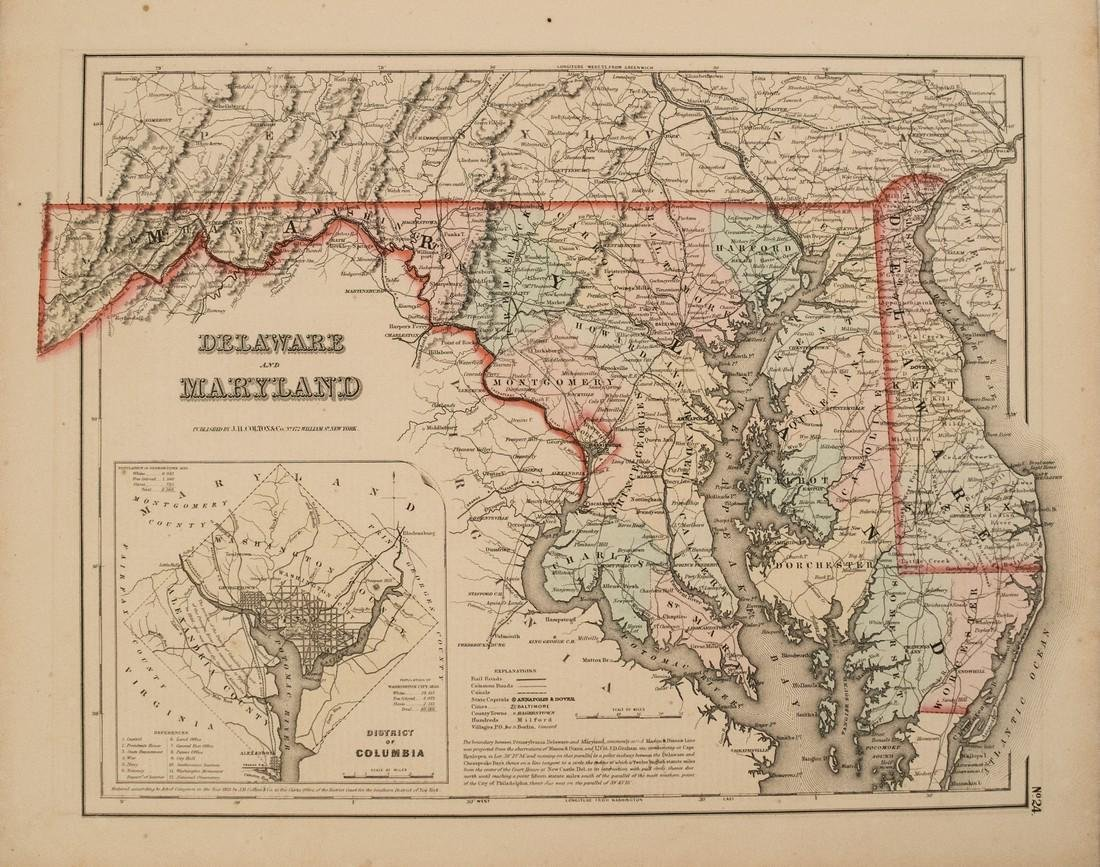 1855 Colton Map of Maryland, Delaware and Washington DC