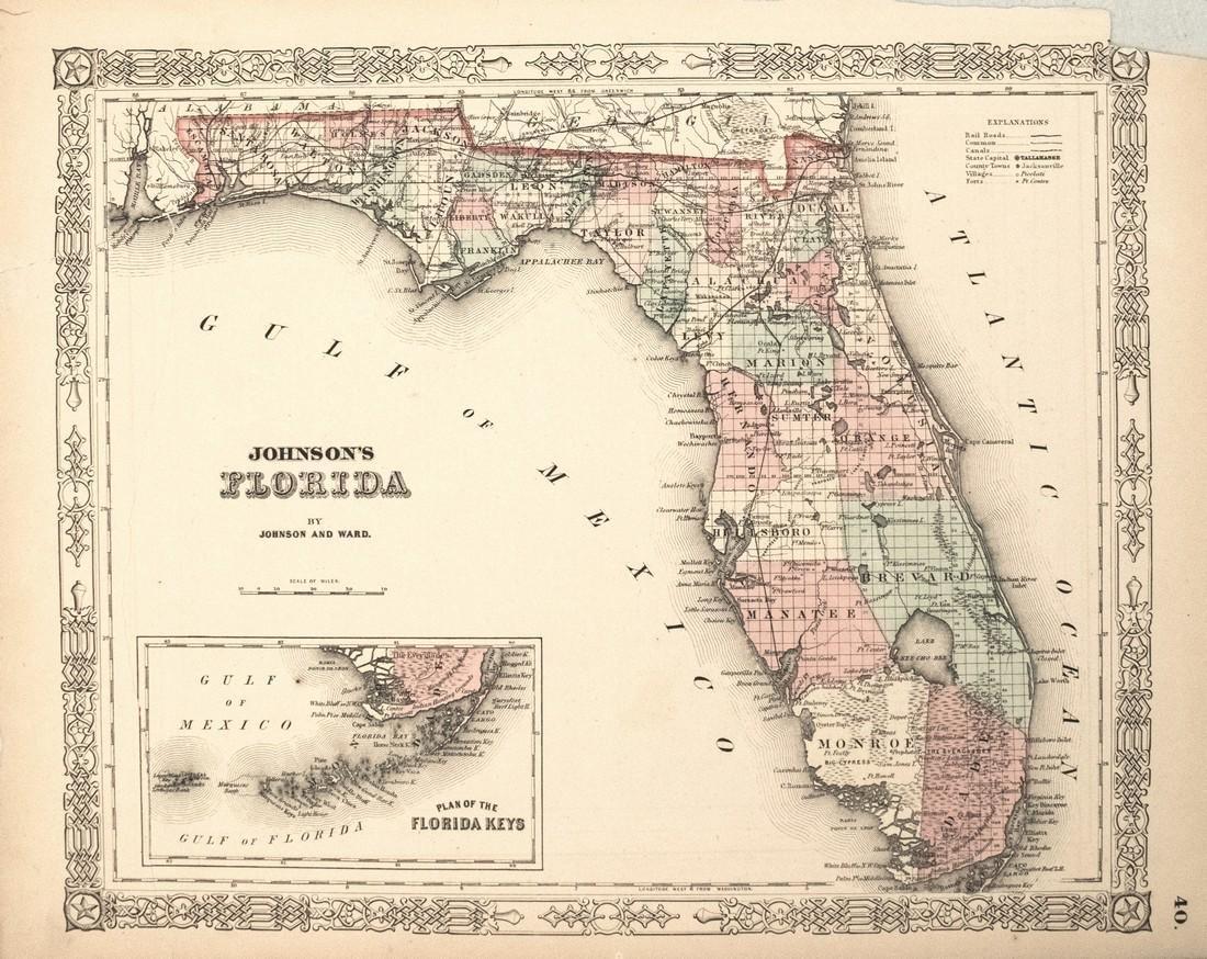 1863 Johnson Map of Florida -- Johnson's Florida