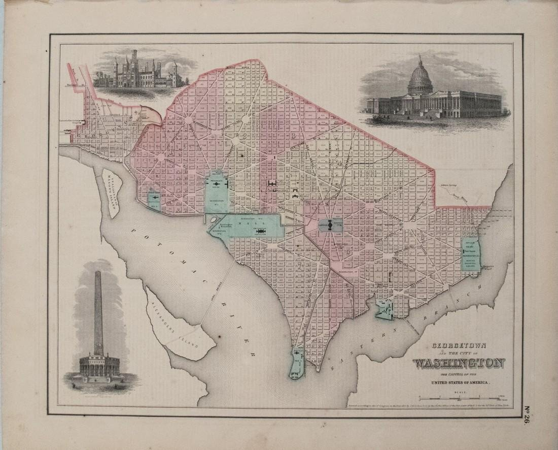 1855 Colton Map of Washington DC -- Georgetown and the