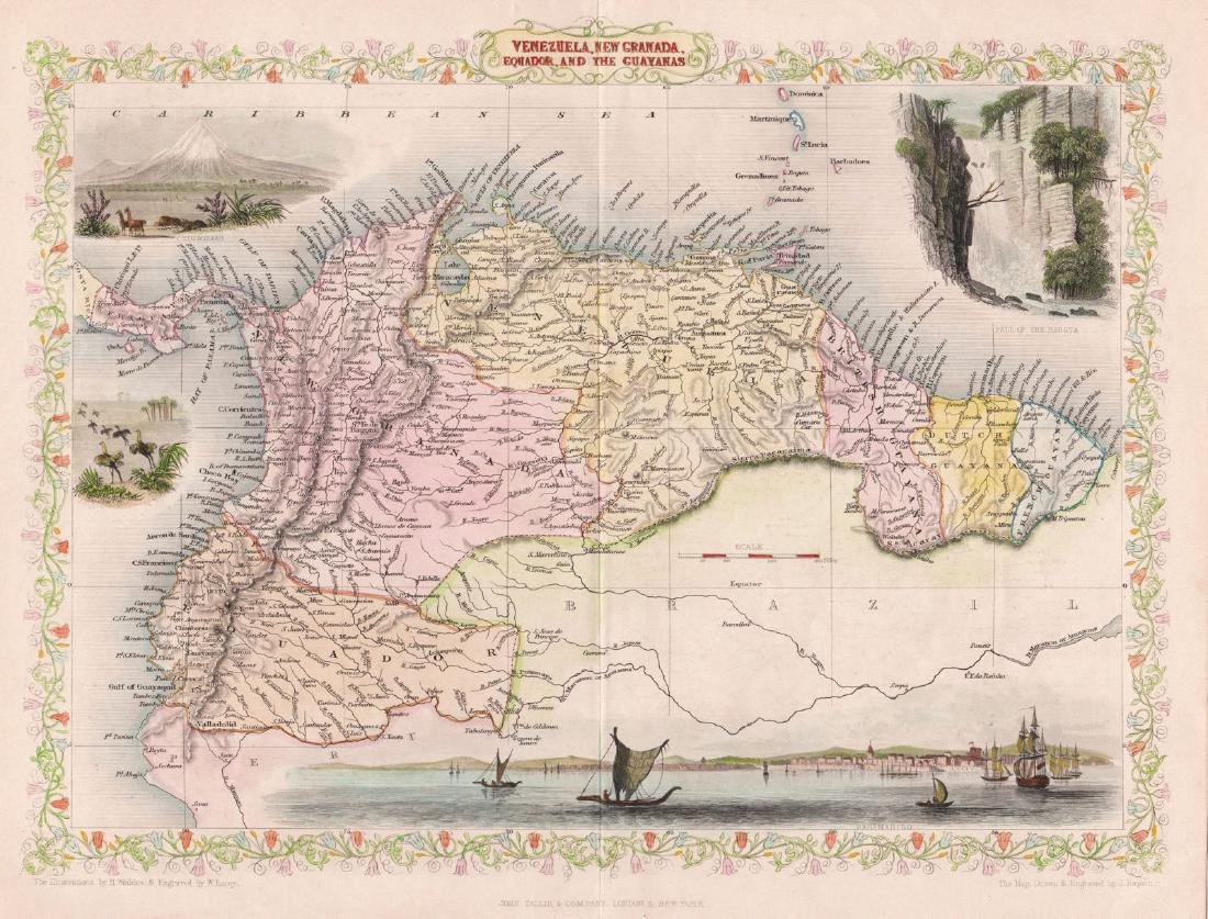 Tallis: Illustrated Map of Northern South America