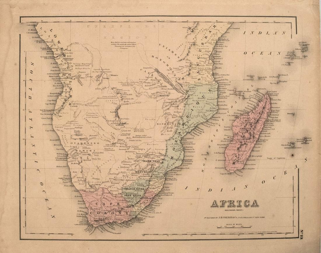 1855 Colton Map of Southern Africa -- Africa Southern