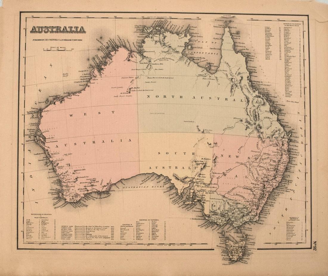 1857 Colton Map of Australia -- Australia